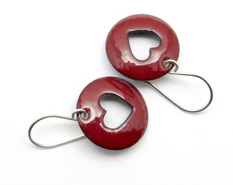 Red Heart Earrings - Red Enamel Earrings - Dark Red Enamel Heart Earrings