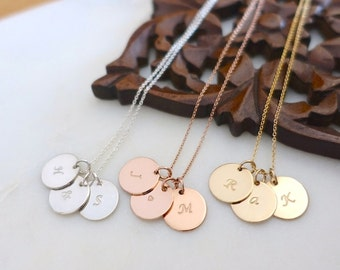 """Three 1/2"""" Initial Disc Necklace, Silver Initial Necklace, Rose Gold Initial Necklace, Gold Personalized Necklace, Silver Gold Filled Discs"""