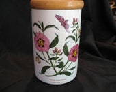 Vintage 70's Portmeirion Canister Purple Rock Rose Botanic Garden Excellent Condition