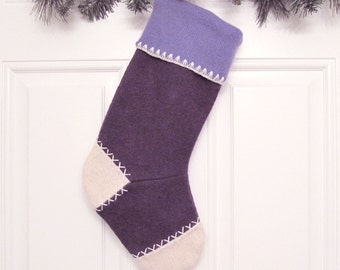 Purple Customizable Christmas Stocking Personalized Holiday Decoration Handcrafted from Felted Wool Sweaters no676