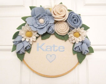 Custom Name Wreath Embroidered Hoop Wall Door Girls Room Decoration with Felt Flowers Handcrafted from Felted Wool Sweaters no979