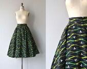 Ribbon Grass skirt | vintage 1950s skirt | wool 50s circle skirt