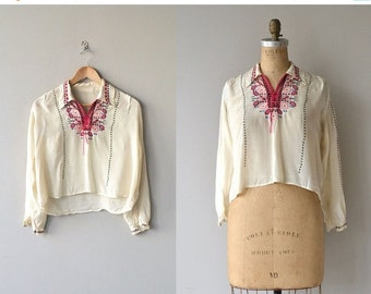 25% OFF SALE Czardas blouse | antique 1920s blouse | embroidered folk silk 20s blouse
