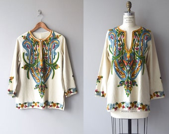 Kinaliada crewel tunic | vintage 1960s crewel tunic | wool 60s embroidered tunic