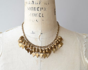Anneau de Feuilles necklace | vintage 1930s necklace | brass 30s necklace