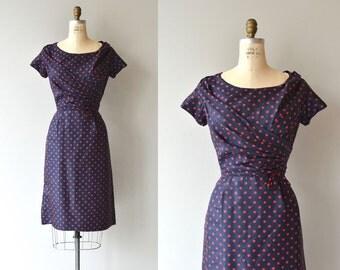 Bluesette silk dress   vintage 1950s dress   polka dot 50s dress