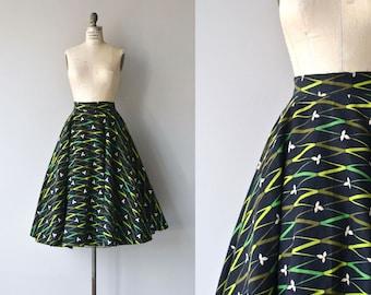 Ribbon Grass skirt   vintage 1950s skirt   wool 50s circle skirt