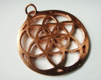 Sacred Geometry Seed of Life Copper Medallion: the Solar Mandala that balances your chakras automatically!