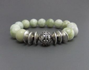 Palest Green Peace Jade Gemstone Bead Stretch Bracelet, Handmade, Bali silver focal bead, elastic bracelet, stacking
