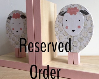 RESERVED LISTING, Lamb Bookends, lavender accents