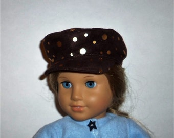 18 Inch Doll Hat, Brown Faux Suede, Gold Sparkles, Newsboy Biker, 15 Inch Doll,  American Made, Girl Doll Clothes