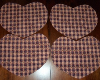 Americana, Quilted Placemats, Heart Shaped, Set of Four, 13x15 Inches, Homespun Fabric, Dining Table Decor, Machine Quilted