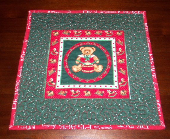 Square placemat quilted table topper handmade 13x13 inches for Small square placemats