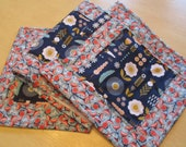Modern Table Runner , Blue And Orange Table Runner , Florals And Feathers