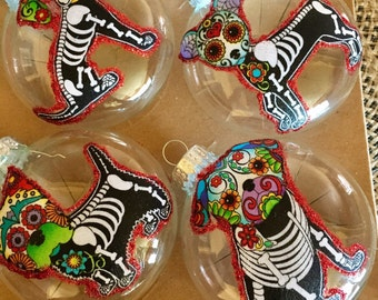 Day of the dead dogs Christmas Ornaments