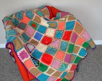 Vintage Afghan  Retro Colors Granny Squares