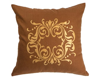 Damask Pillow Cover, Russet Brown Linen Gold Damask Embroidery, Gold Accent Pillow, Classic Couch Pillow, Damask Fabric, Decorative pillow