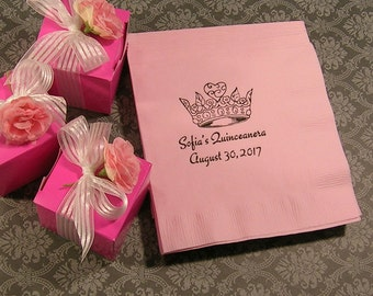 Quinceanera napkins Mis Quince Mis Quince Anos personalized napkins