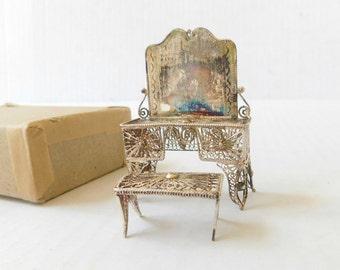 Vintage Continental Silverplate Filigree Miniature Furniture , Mirrored Vanity with Stool 1950s Very fine craftsmanship , Rare piece