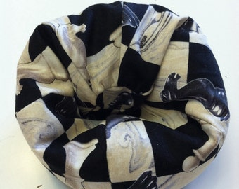 Cell Phone Bean Bag Chair or Kindle Kouch, Black and Beige with Chess Pieces