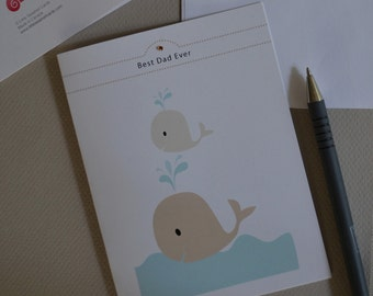 Fathers Day Whale and Baby Card, For Dad, Father, Whale