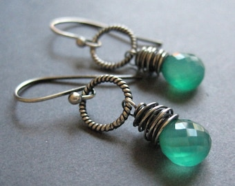 Emerald Green Onyx Earrings, Sterling Silver Gemstone Dangle Earrings, Lucky Charms