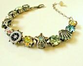 Handmade crystal bracelet. Beach, ocean, sea, resort, bling. Antique silver, one size, adjustable.