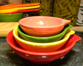 Nesting Ceramic Measuring Cups -  1 Cup, 1/2 Cup, 1/3 Cup, 1/4 Cup Bowl  cup set,   Prep Bowls , bake, hostess, wedding or new home gift