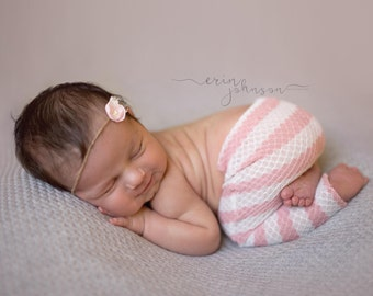 Pink and white newborn pants with tieback prop set