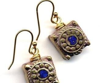 SALE Nepal Earrings - Lapis Lazuli Inlay, 18K Gold Filled Wire - Lapis Lazuli Earrings, Blue and Gold Earrings, Nepal Jewelry by AnnaArt72