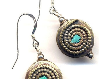SALE Turquoise inlay Earrings with Nepal Beads on Sterling Silver Wire