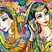 beautiful Indian twins art painting, bride art Indian woman painting Indian decor affordable art gifts, signed print 2x set, 5x7