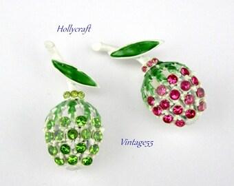 Hollycraft Rhinestone Fruit Berry Scatter Pins