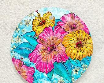 Tropical Paradise Glass Ornament & Suncatcher, hibiscus, tropical flowers