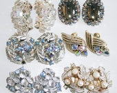 RESERVED Six Pairs of Mid Century Rhinestone Earrings As Is