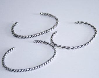 Three Sterling Silver Twisted Wire Cuff Bracelets