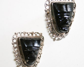 Carved Onyx Screw Back Earrings Mexico