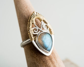 Madeline: Filigree Ring w/ Labradorite Gemstone in Silver & Gold-filled, Intricate, Grey, Blue, Green, Metalwork, Artisan - Made to Order