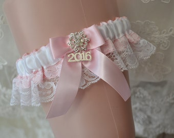 Pink Prom Garter With White Lace And Rhinestone Button And 2016 Charm