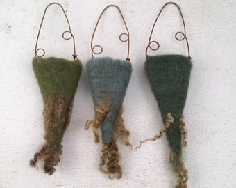 Wet Felted Vessels Set of Three Dry Vases Fiber Art Project Treasure Holder Delaware Fun A Day Project Set No.9