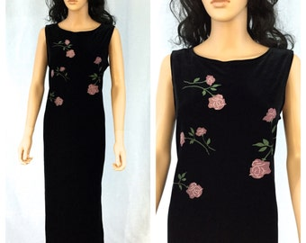 Vintage Black Maxi Dress. Pink Roses. Large. Velvet Feel. Sleeveless. Long Dress. Floral. Impressions Millennium Edition. 1990s. Under 50.