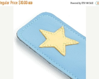 20% off sale Mally Leather Bookmark Page Marker, Yellow Star Design on Bright Blue
