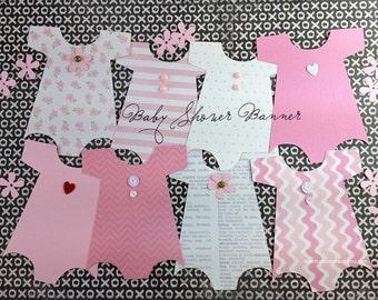 FREE SHIP Kit Baby Shower Banner / Onesie Banner /Baby Shower Decoration /Baby Girl Onesie / Nursery Decoration / It's a Girl / Shower Decor
