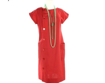 ON SALE 1960s 1970s Bold Rose Mod Sheath Dress - Vintage David Warren New York - size Medium