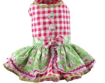 Dog dress, harness dog dress, Easter dog dress, Gingham dog dress, Bunny