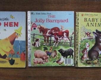 Three Little Golden Books - Little Red Hen, Baby Farm Animals, The Jolly Barnyard