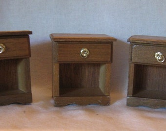 Vintage Wood Dollhouse Furniture - Three Bedside Tables or End Tables