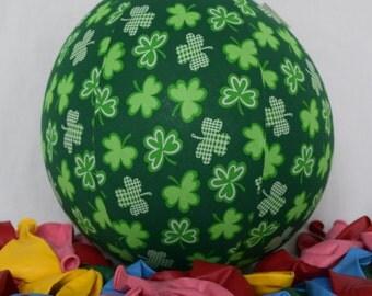 Balloon Ball - St Patricks Dark Green Shamrock Clover Fabric