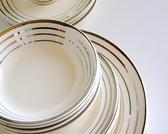 RESERVED for M*** D*****: Custom Atomic Art Deco Dinnerware, Coffee Set - Salem Zephyr Platinum Pattern, Century & Saphire Shapes,