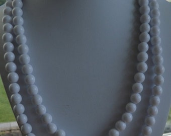 On Sale Pretty Vintage White Plastic Double Strand Necklace, 46""